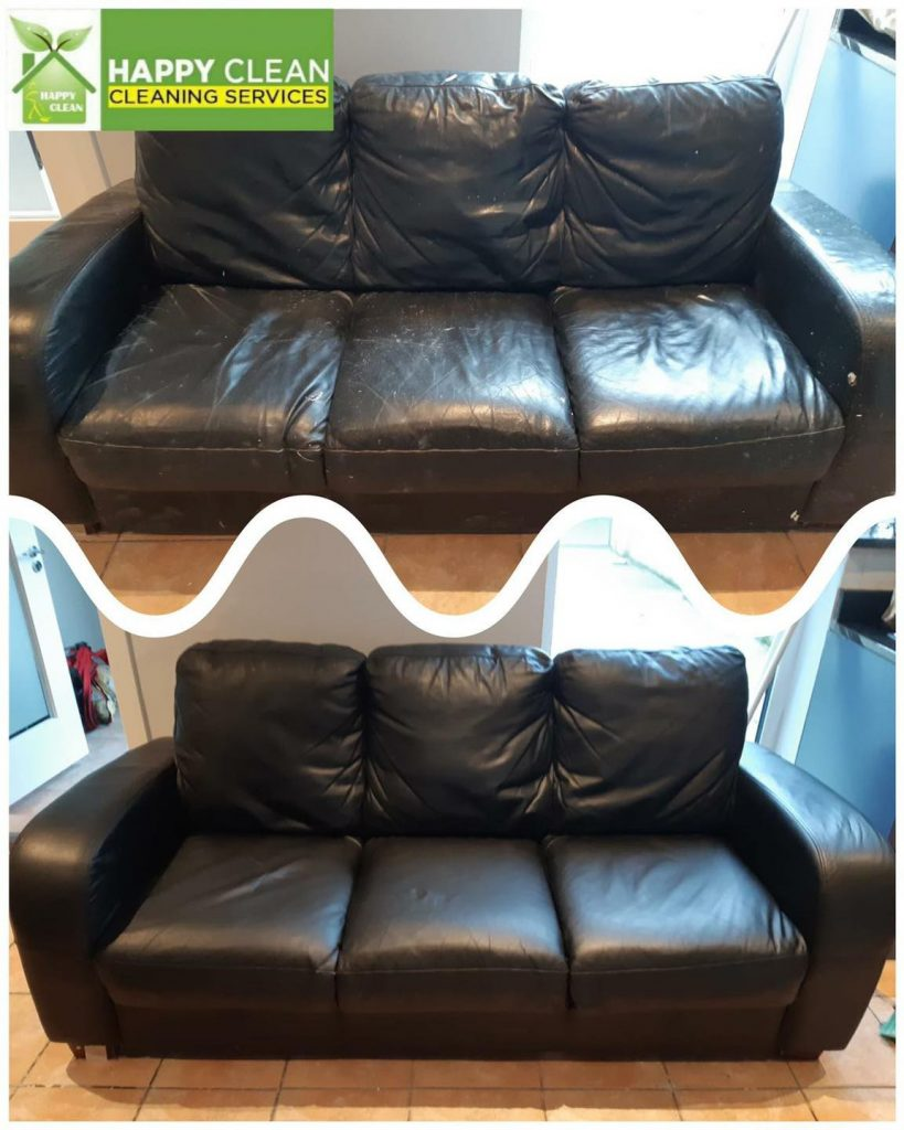 Black leather sofa cleaning | Before and After
