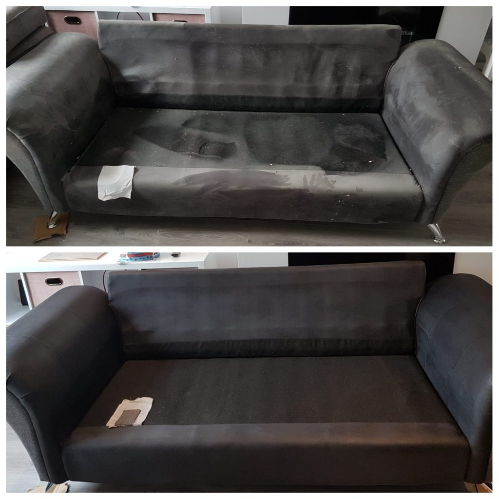 Black sofa cleaning
