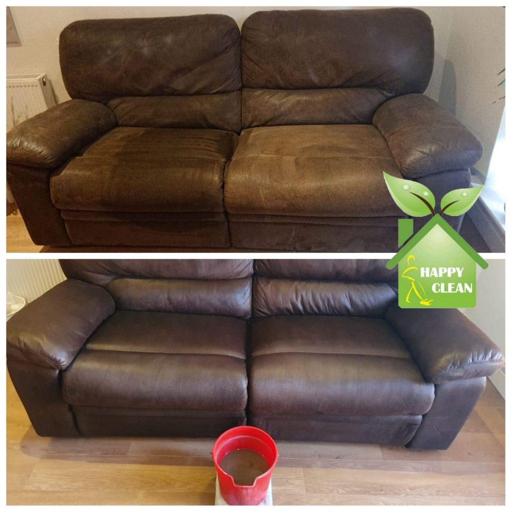 Brown sofa cleaned | before and after pics