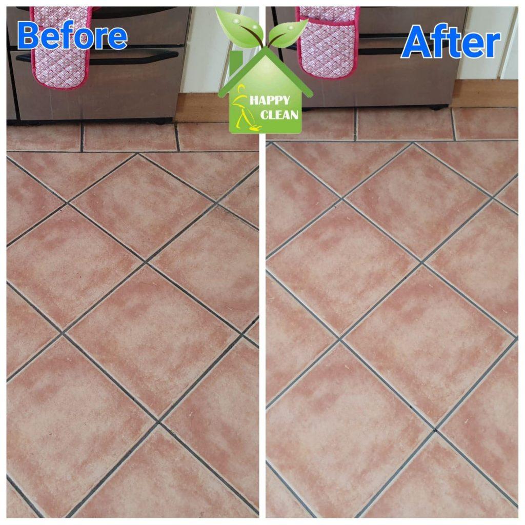 Ceramic floor cleaned