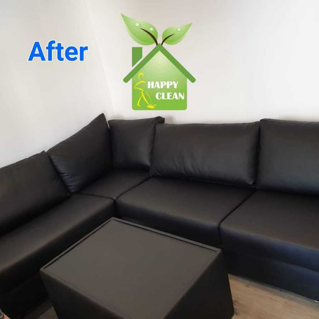 Clean black leather sofa