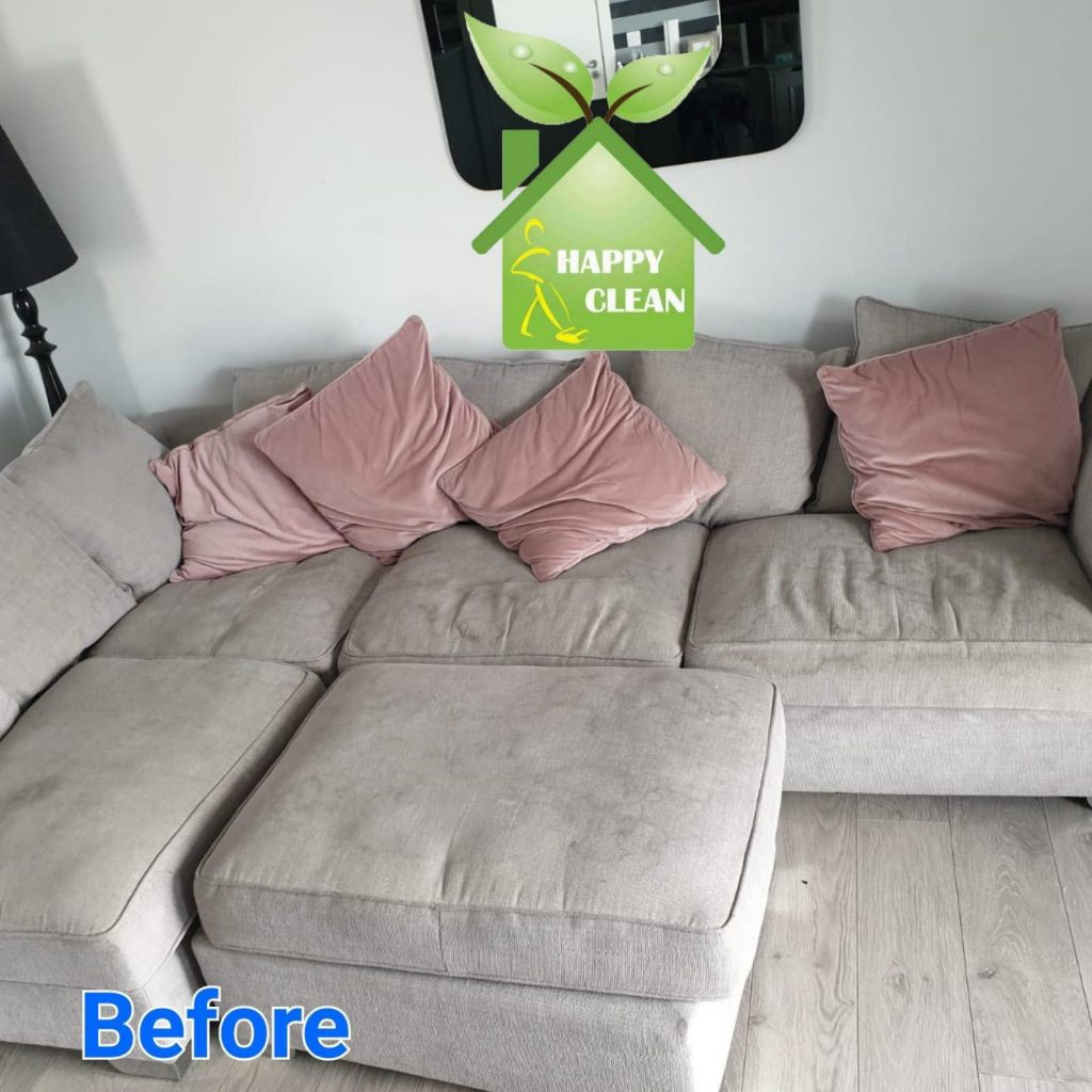 Cream fabric sofa before Cleaning