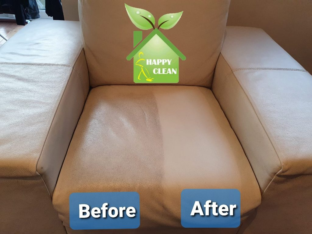 Cream leather armchair - upholstery cleaning