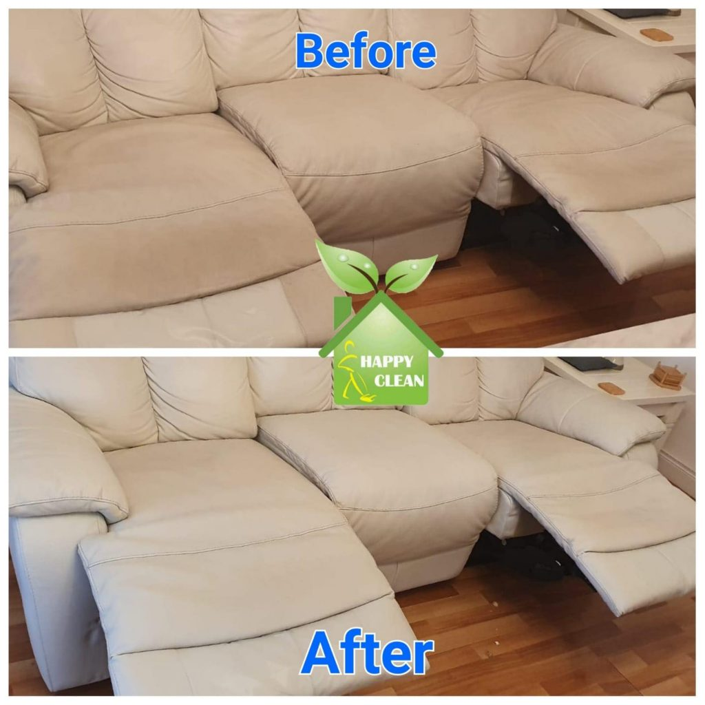 Cream leather sofa cleaning