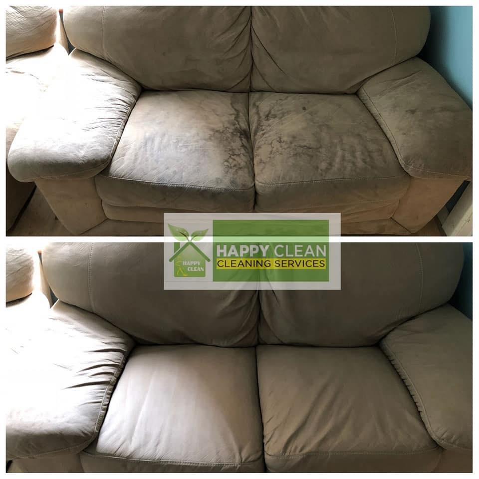 Cream sofa cleaned | Before and After