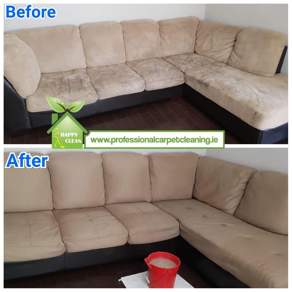 Cream suede sofa cleaned