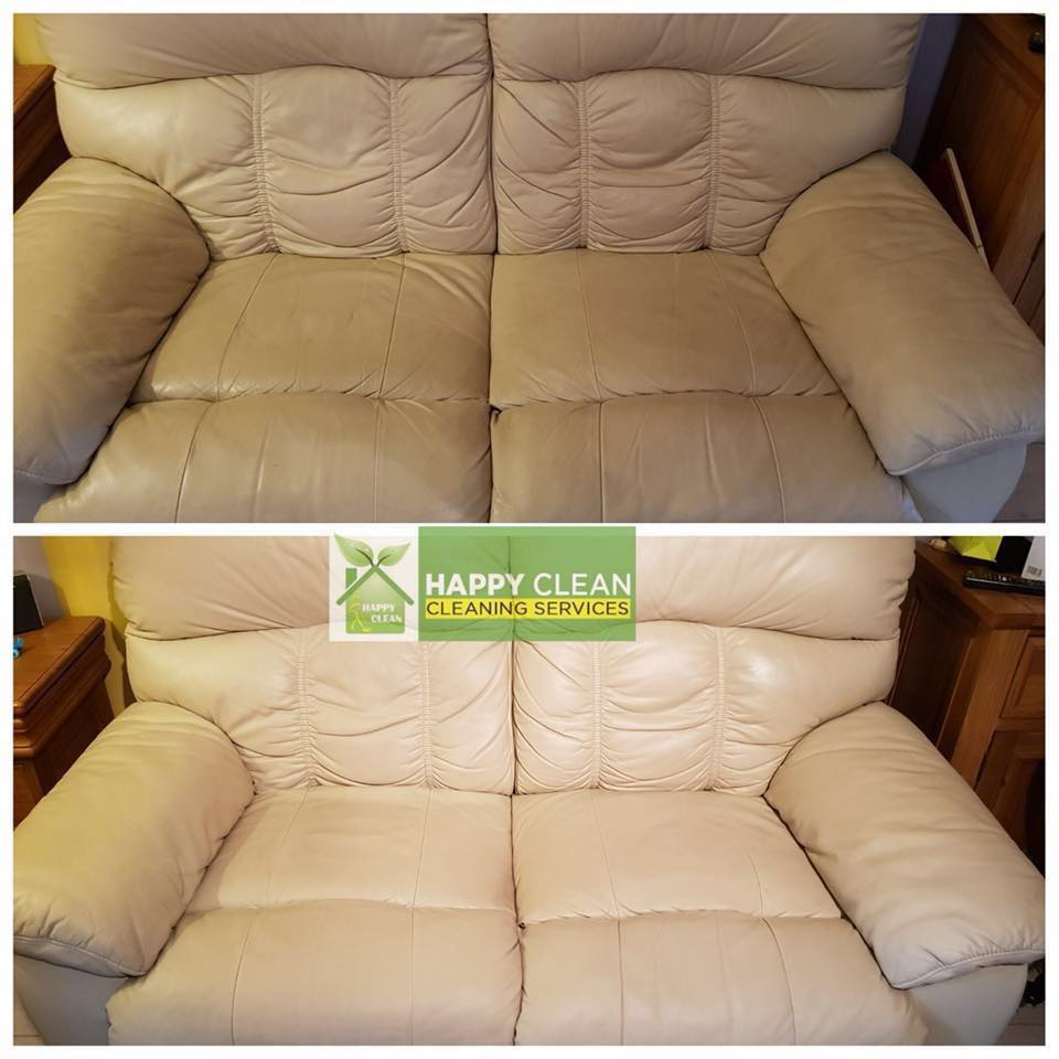 Cream two-seater sofa cleaned