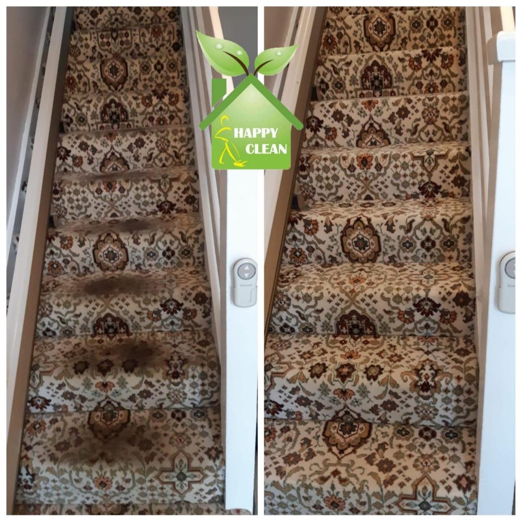dirty carpet cleaning on stairs