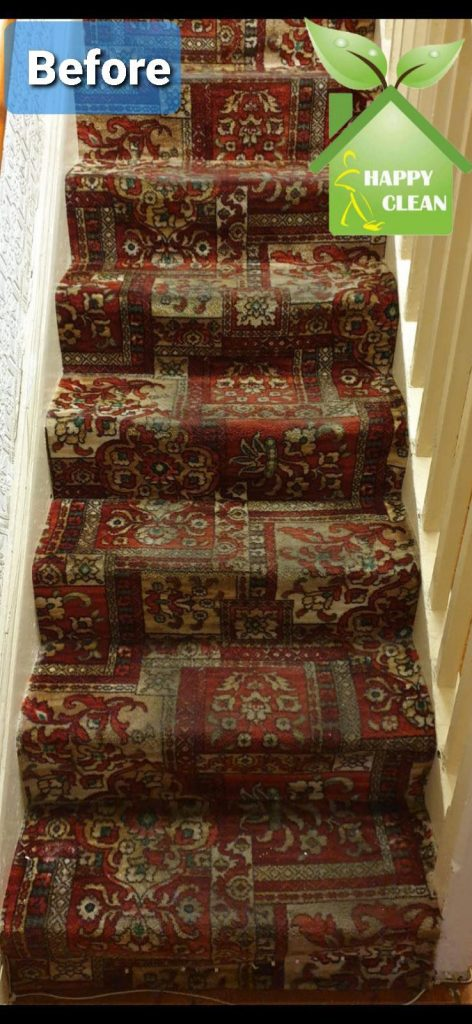 dirty stair carpet before cleaning
