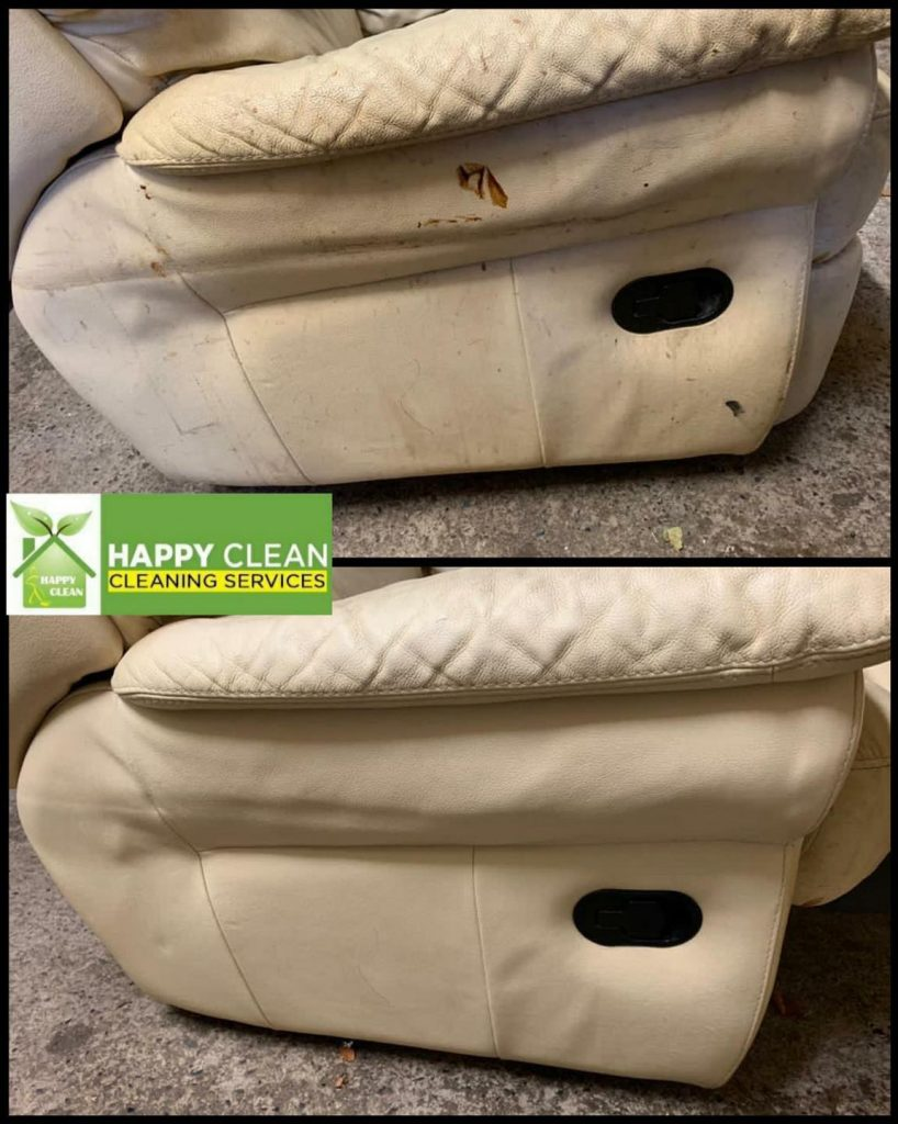 Dirty cream leather sofa cleaned