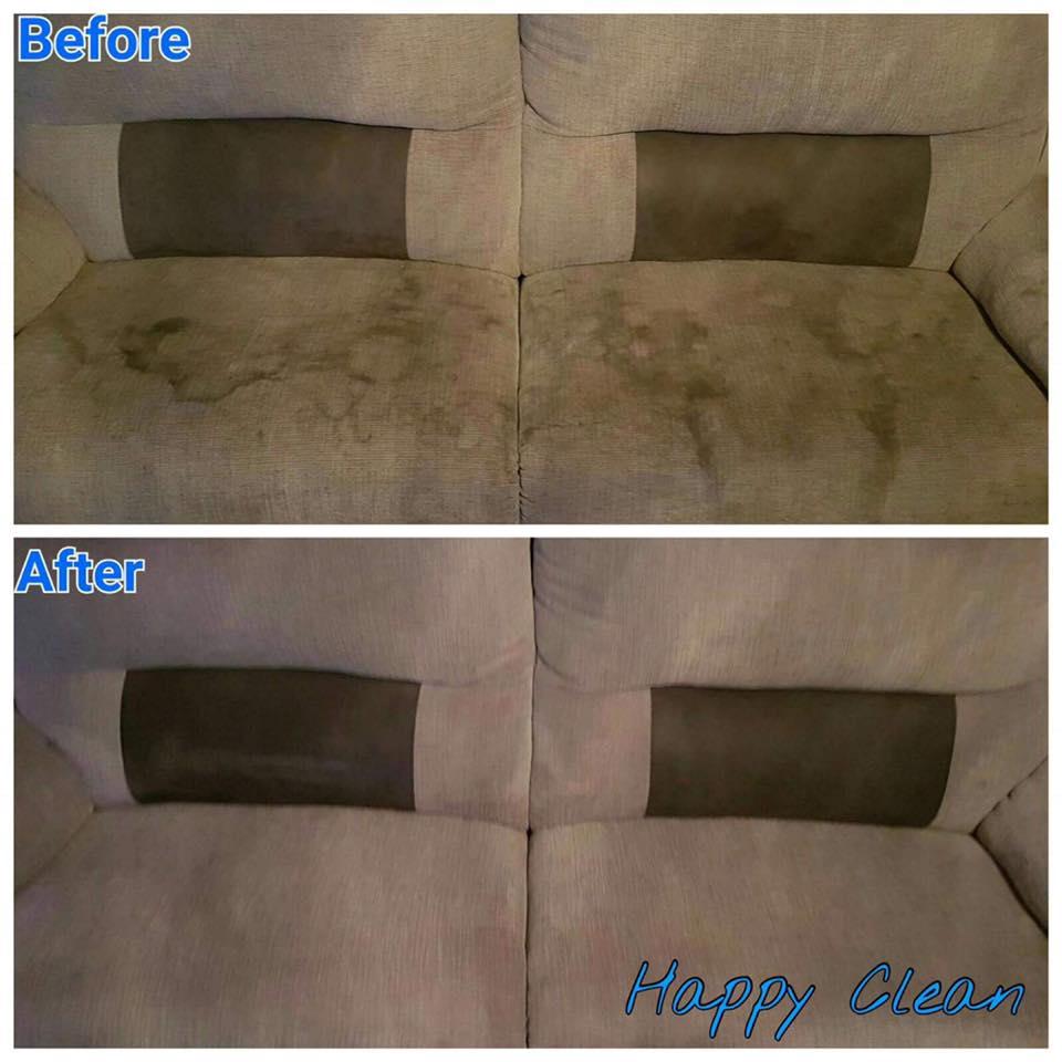 Dirty sofa cleaned