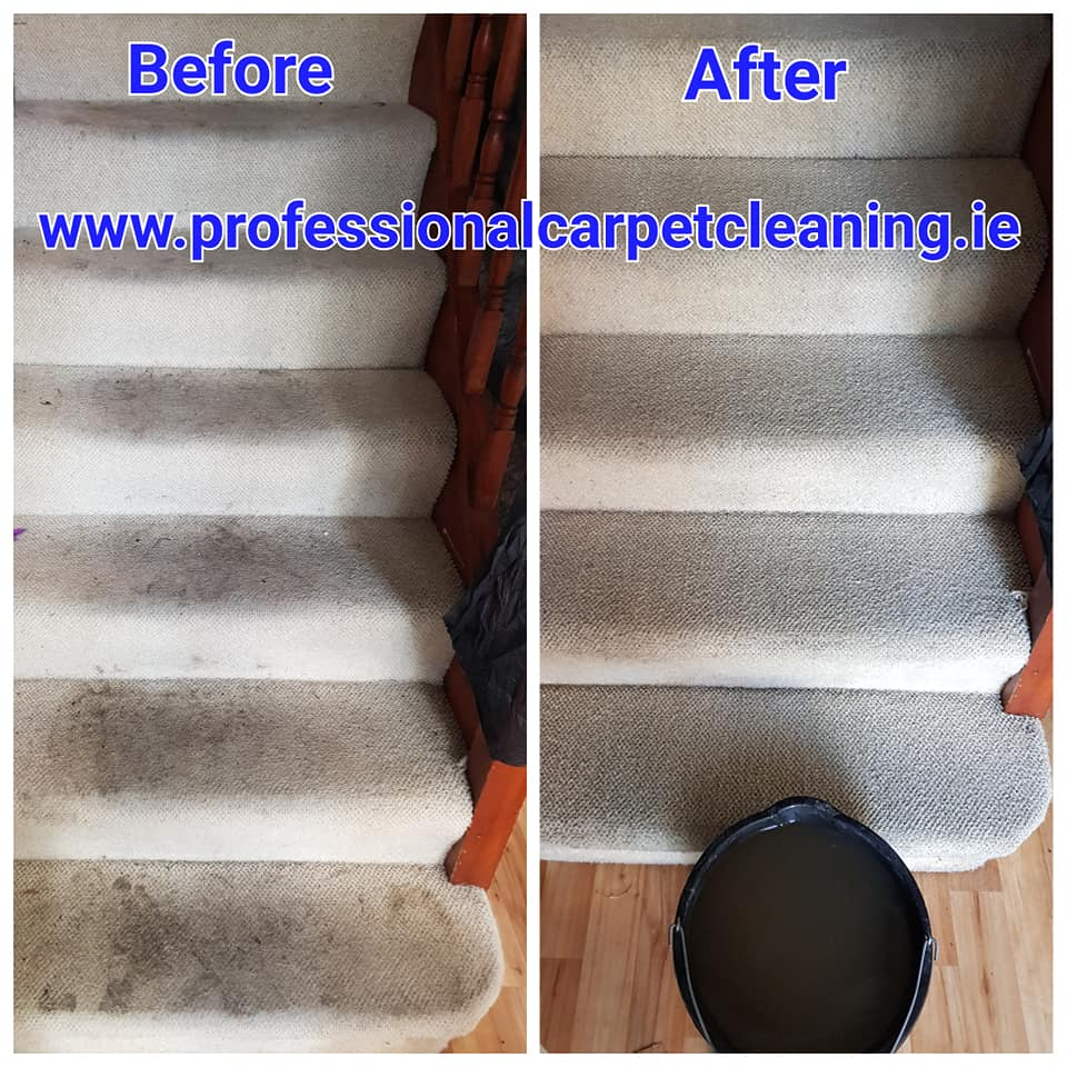 dirty steps carpet before and after cleaning