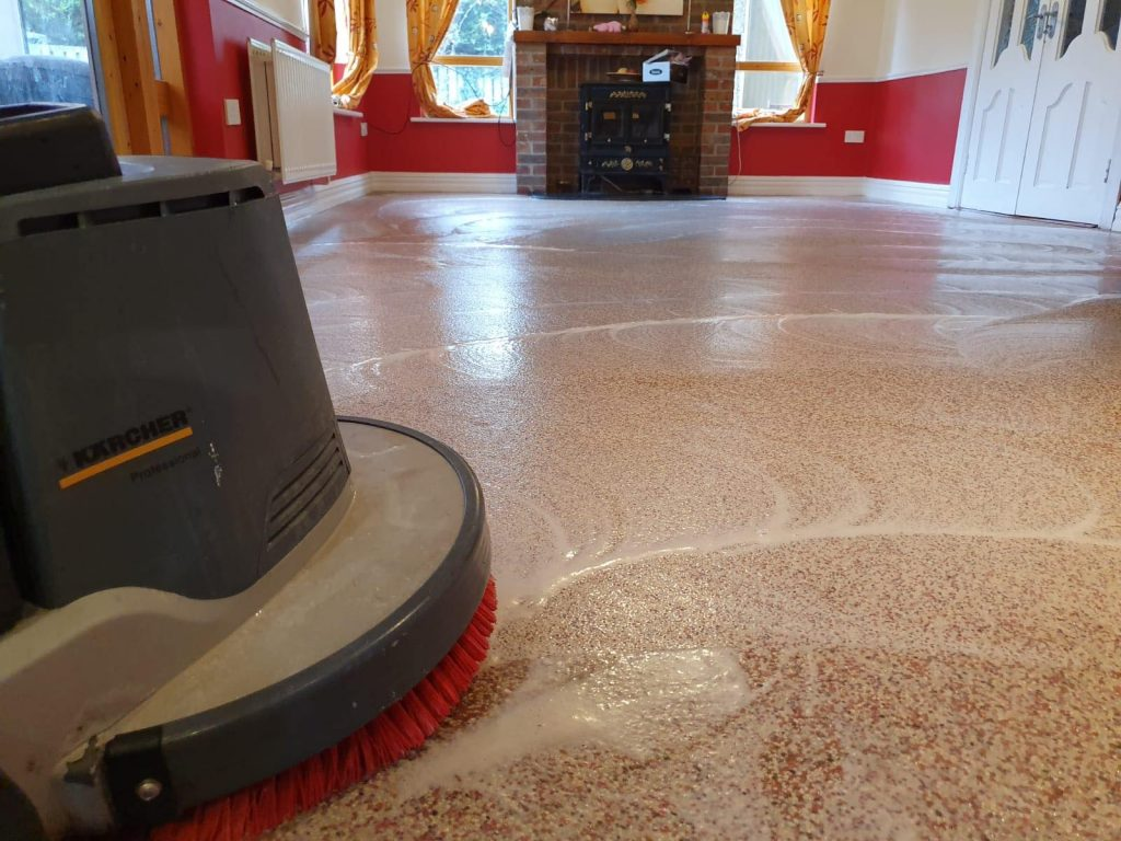 Floor deep cleaning process