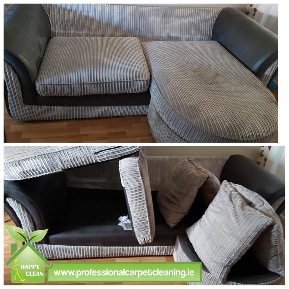 Gray corduroy sofa cleaning