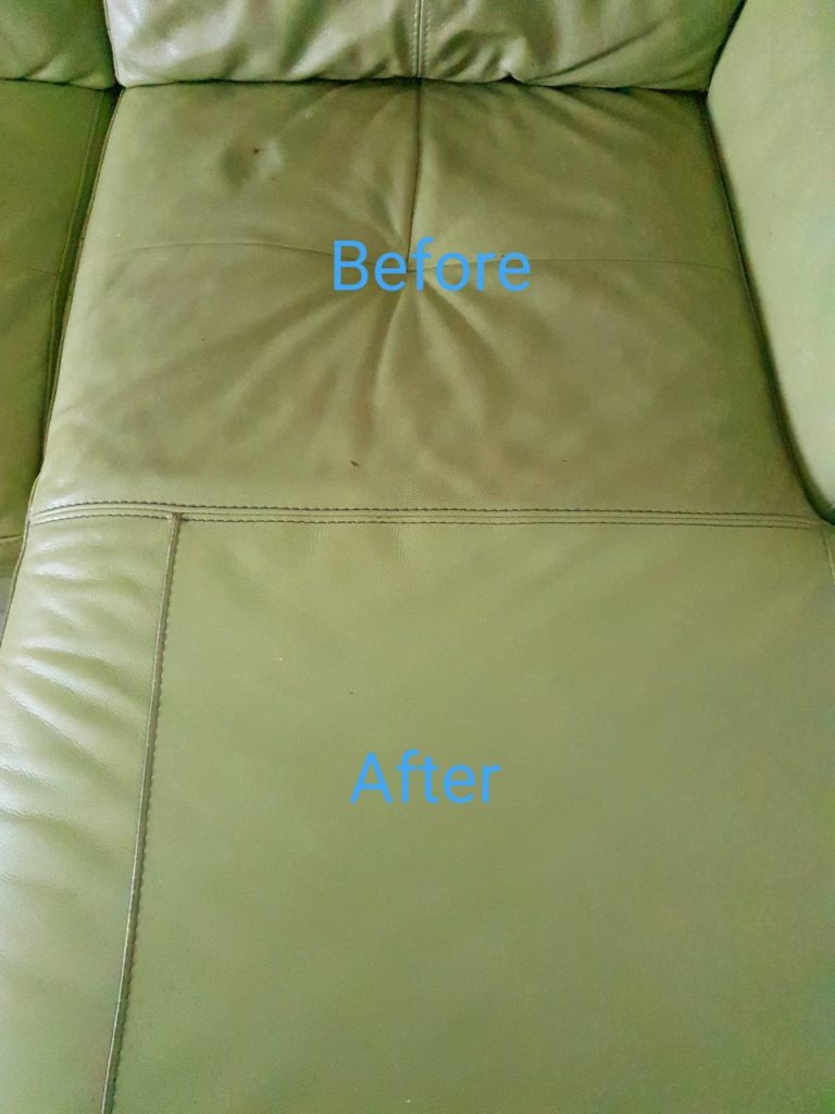 Leather sofa cleaned