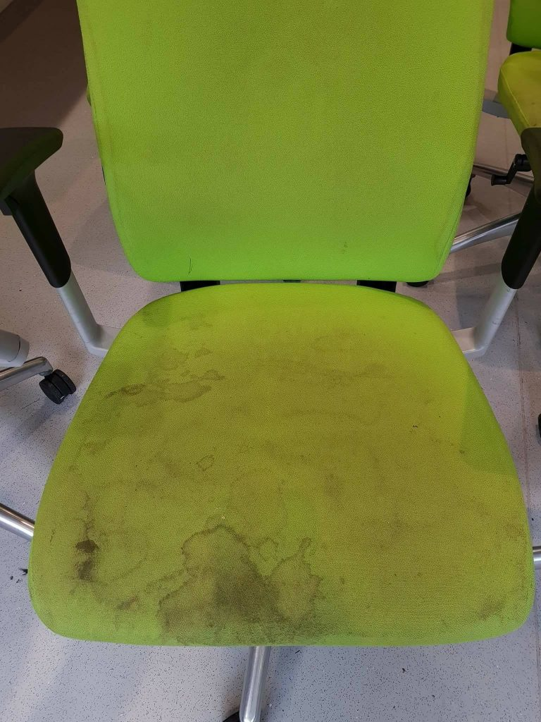 Office chair before cleaning