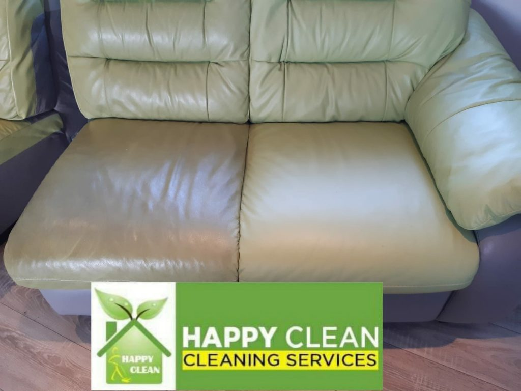 Olive leather sofa cleaning
