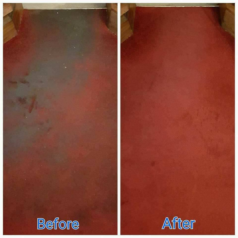 pub carpet cleaning - before and after