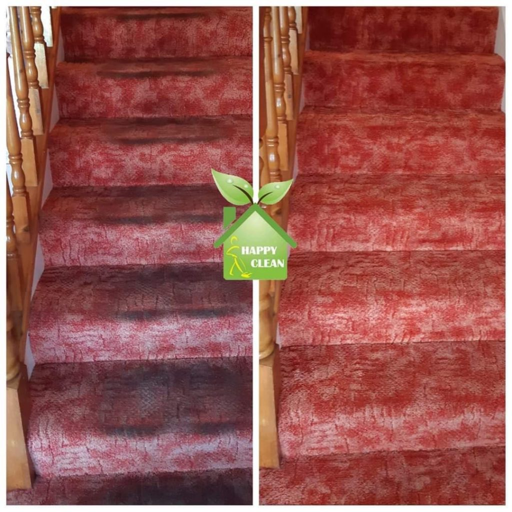 red stair carpet cleaning