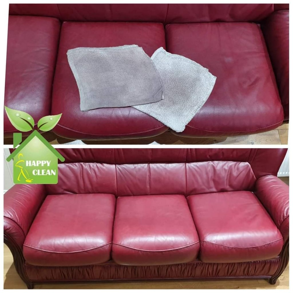 Red leather sofa upholstery cleaned