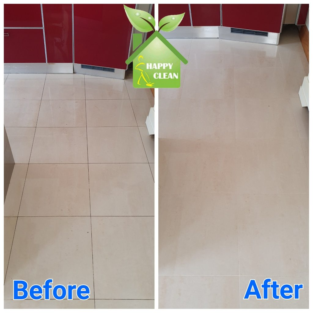 Shiny tiles before and after cleaning