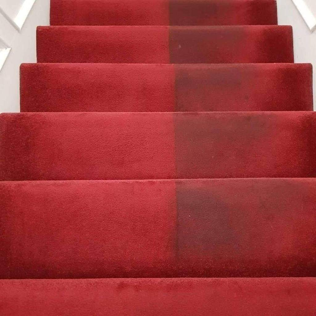 stairs red carpet cleaning before and after