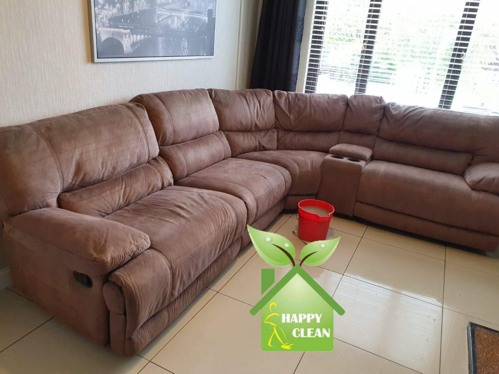 Suede corner sofa cleaning