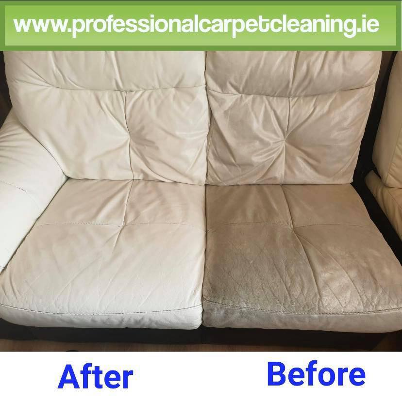 White leather sofa cleaned