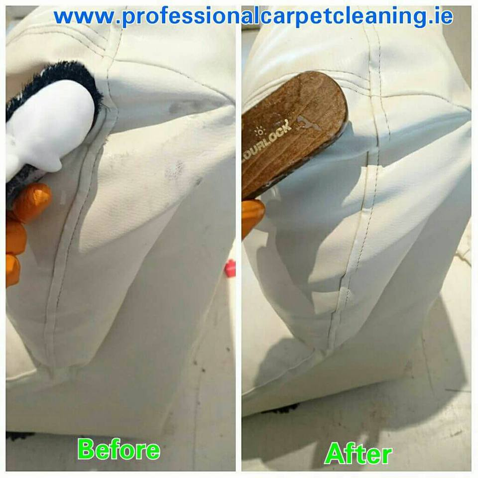 White leather sofa cleaning