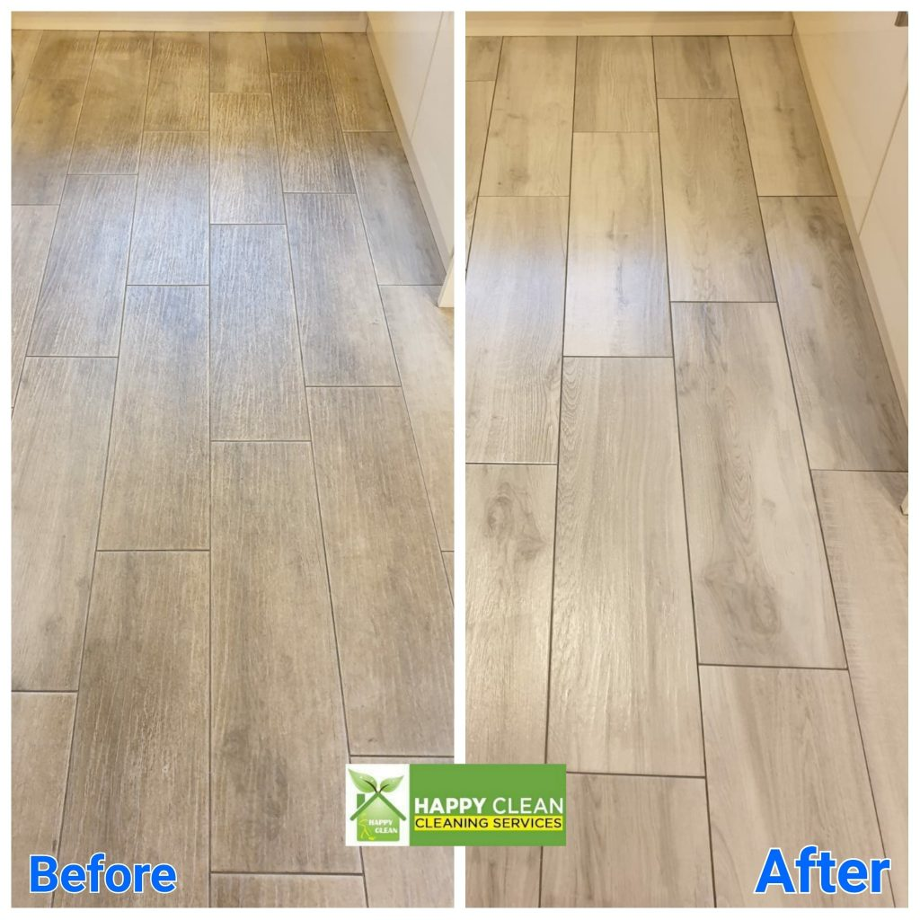 Wood effect tiles cleaned