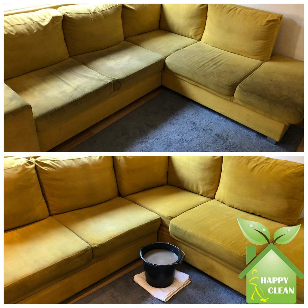 Yellow corner sofa cleaned